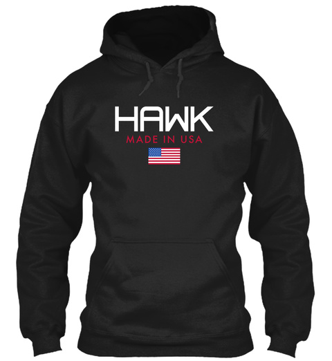 Hawk Made In Usa Black T-Shirt Front