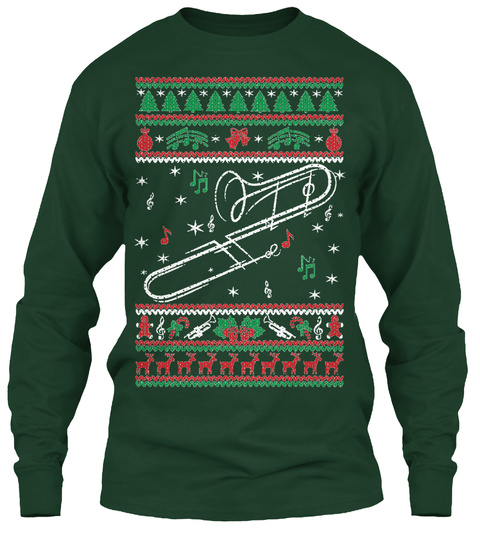 Trombone Ugly Christmas Forest Green Long Sleeve T-Shirt Front