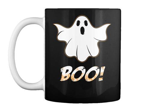 Halloween Boo Mug Gift Black T-Shirt Front