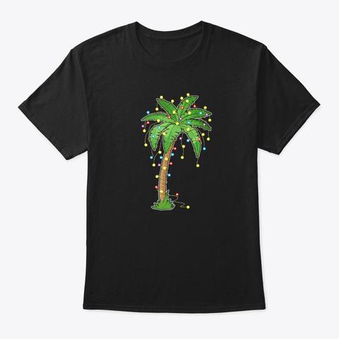 Christmas Lights Palm Tree Beach Funny Black T-Shirt Front