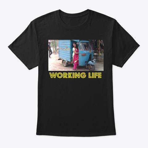 Working Life Black T-Shirt Front