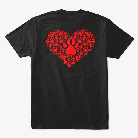 We Love Pets Fund Heart Black T-Shirt Back