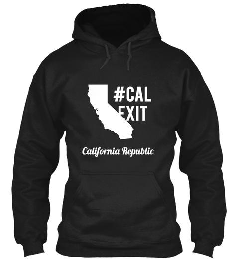 #Cal Exit California  Republic Black T-Shirt Front
