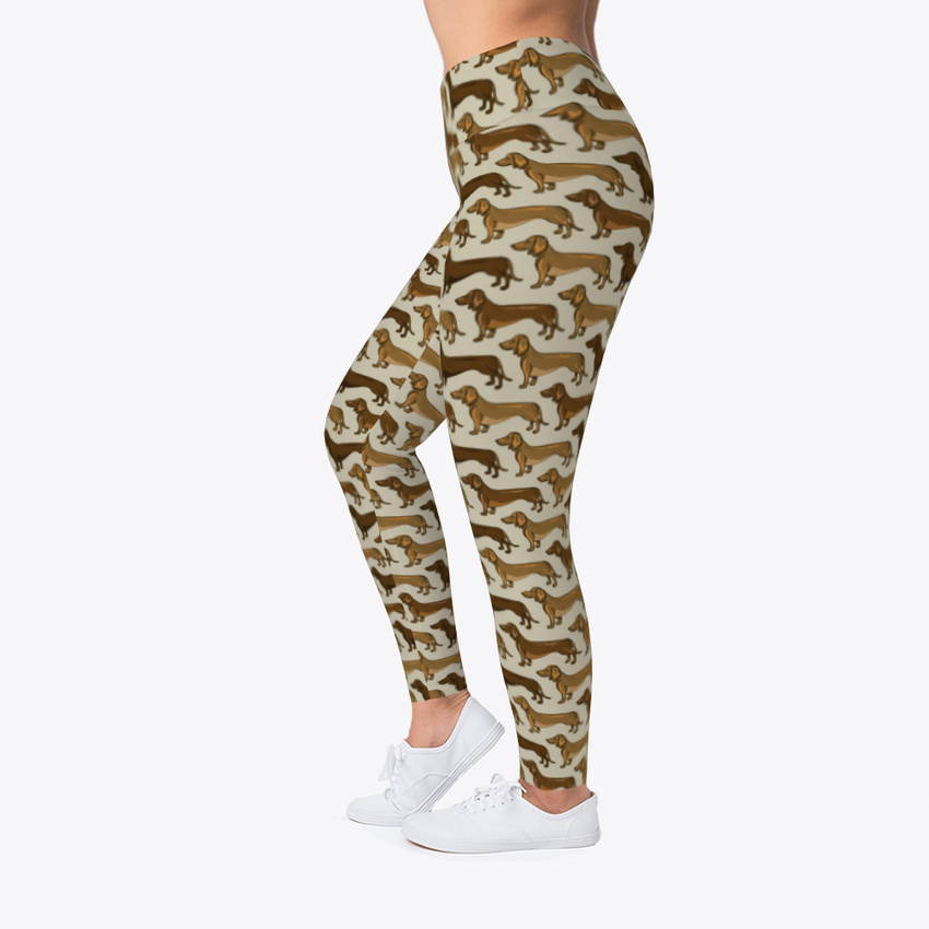 Brown Dachshund Dog Leggings Women's Print Fitness Stretch