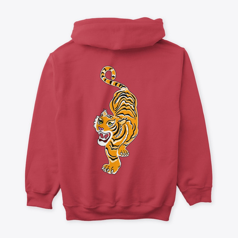 Bold Tiger Hoodie For Men And Women Cardinal Red T-Shirt Back