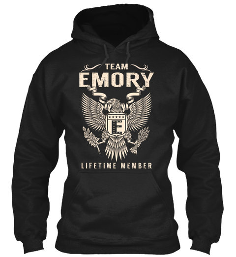 Team Emory E Lifetime Member Black T-Shirt Front