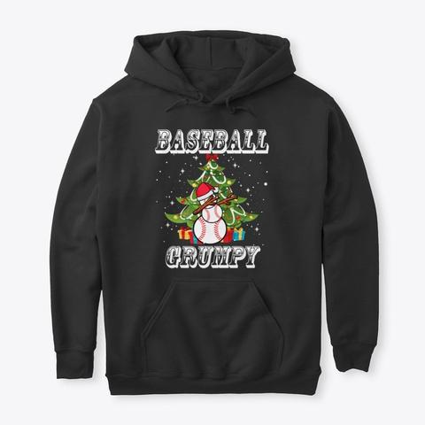 Christmas Baseball Grumpy Snowman Shirt Black T-Shirt Front