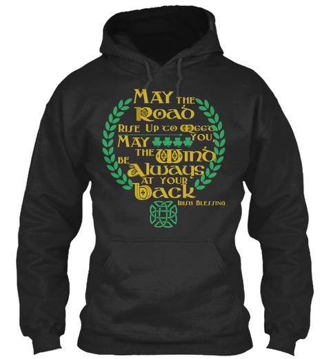 Irish Blessing Design Jet Black T-Shirt Front