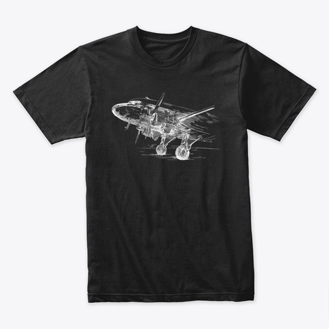 Classic Piston Twin Poised For Flight Black T-Shirt Front