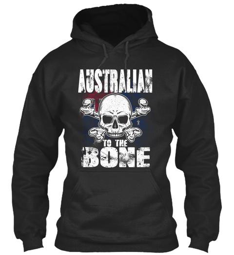 Australian To The Bone Jet Black T-Shirt Front