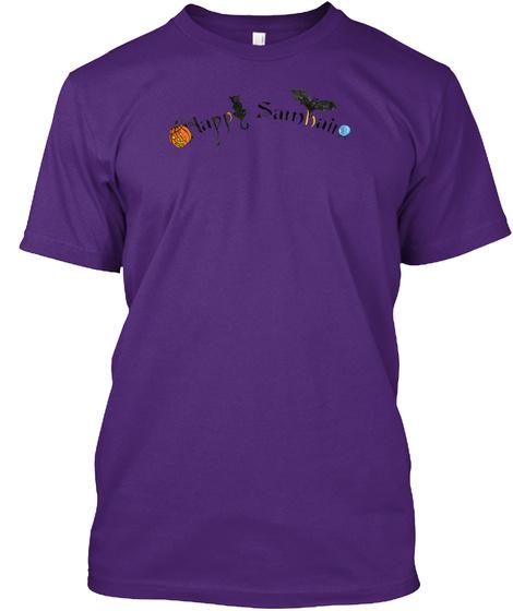 Happy Samhain Words Purple T-Shirt Front