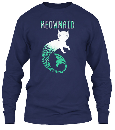 Meowmaid Navy Long Sleeve T-Shirt Front