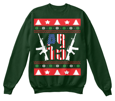 Ar 15 Ugly Christmas Sweater Tee! Deep Forest  Sweatshirt Front