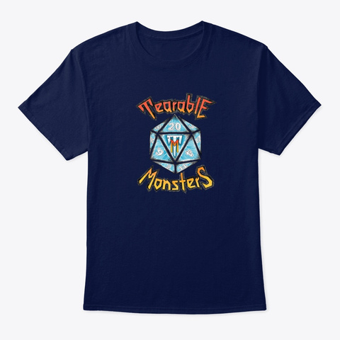 Tearable Monsters Wear Navy T-Shirt Front