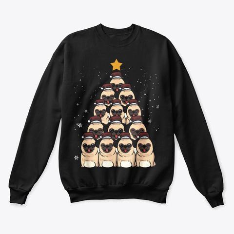 Pug Christmas Tree T Shirt Black T-Shirt Front