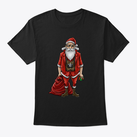 Hipster Santa Claus | Christmas Style Black T-Shirt Front