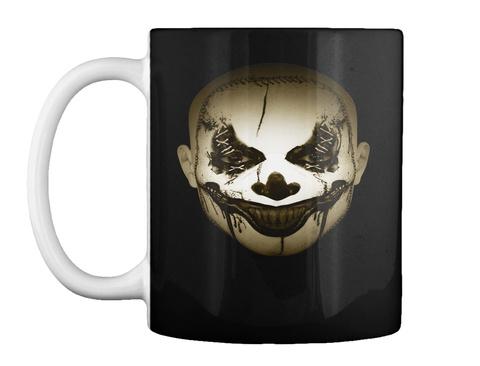 Scary Clown Halloween Mug Black T-Shirt Front