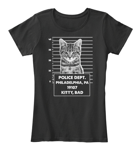 Police Dept. Philadelphia, Pa 19107 Kitty, Bad Black T-Shirt Front
