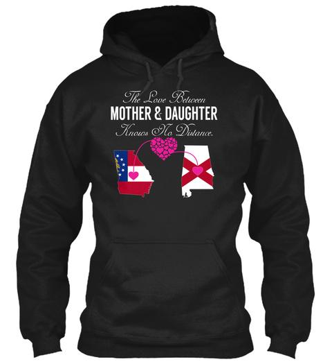 Mother Daughter   Georgia Alabama Black T-Shirt Front