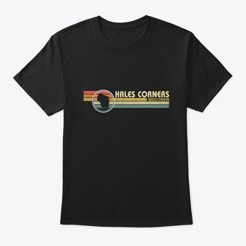 Wisconsin Hales Corners Vintage Black T-Shirt Front