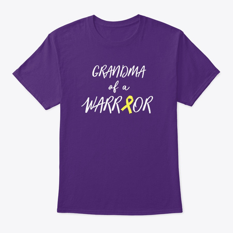 Grandma Of A Warrior, Childhood Cancer Purple T-Shirt Front