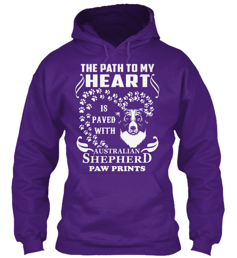 The Path To My Heart Is Paved With Australian Shepherd Paw Prints Purple T-Shirt Front