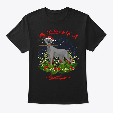 Great Dane Patronus Christmas Black T-Shirt Front