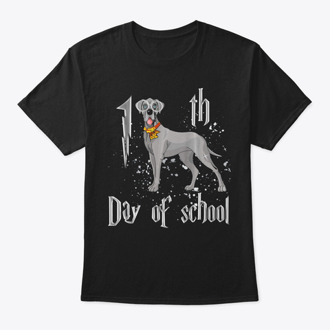 100 Th Day Of School Great Dane Dog Tshir Black T-Shirt Front