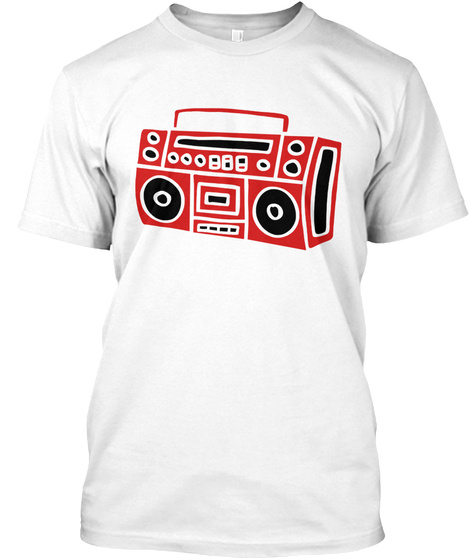 Ghettoblaster Radio Stereo Sound Bass Mu White T-Shirt Front