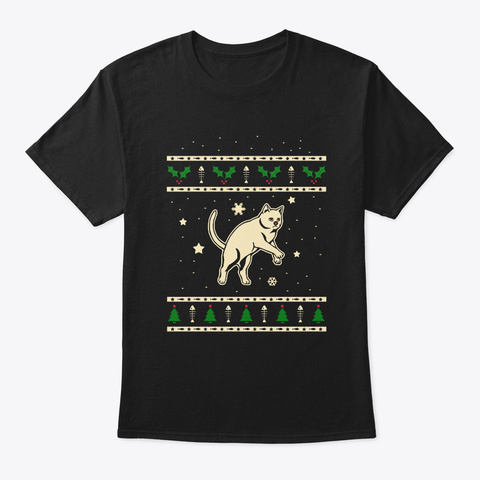 Christmas Chartreux Gift Black T-Shirt Front