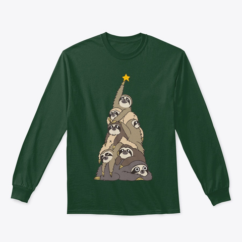 Christmas Tree Sloths Forest Green T-Shirt Front