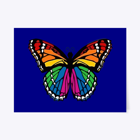 Rainbow Butterfly Gay Pride Butterflies Deep Navy T-Shirt Front