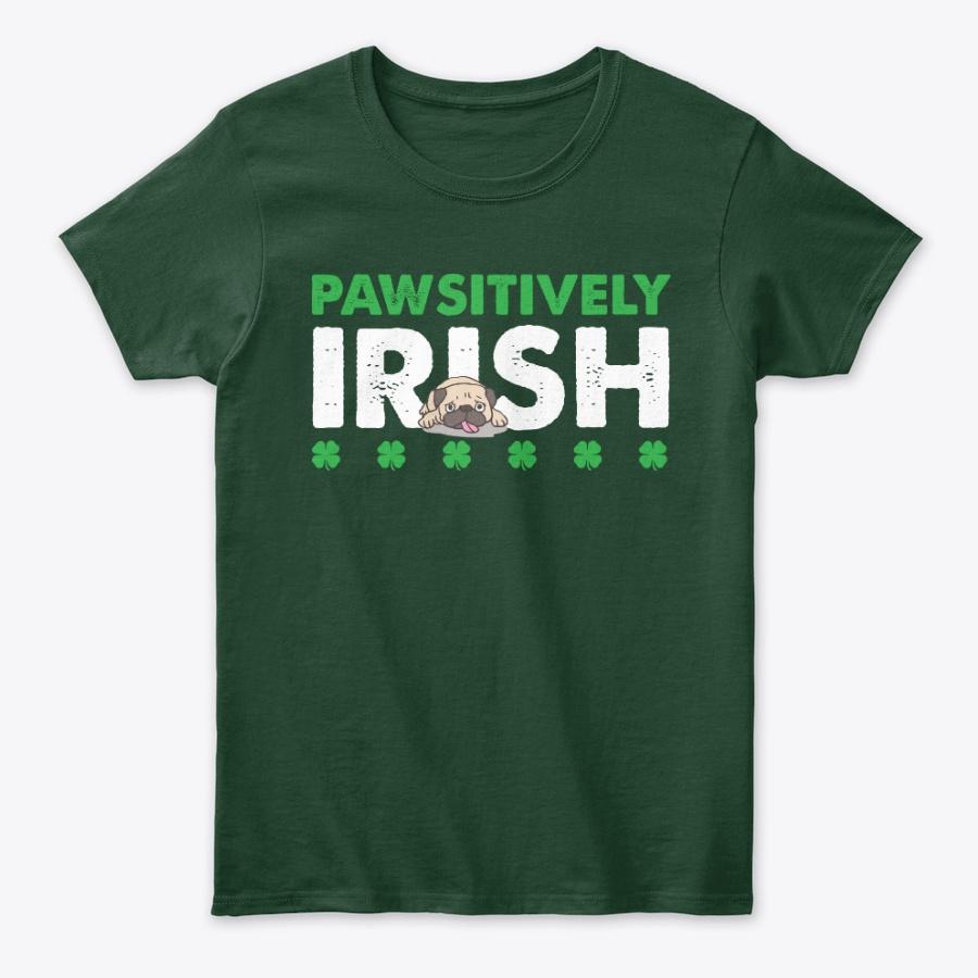 Pawsitively Irish Green Clover Pug Tee Unisex Tshirt