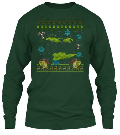 Us Virgin Islands Christmas Ugly Shirt Forest Green T-Shirt Front