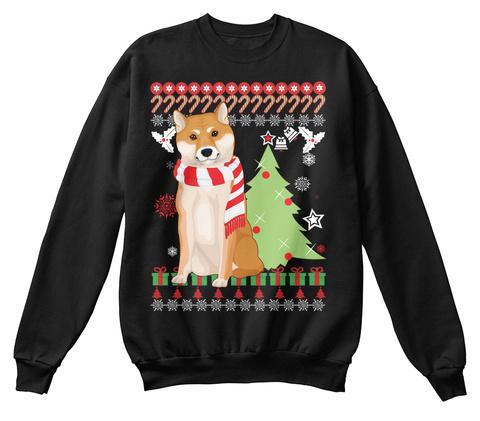 Shiba Dog Ugly Christmas Sweater. Black T-Shirt Front