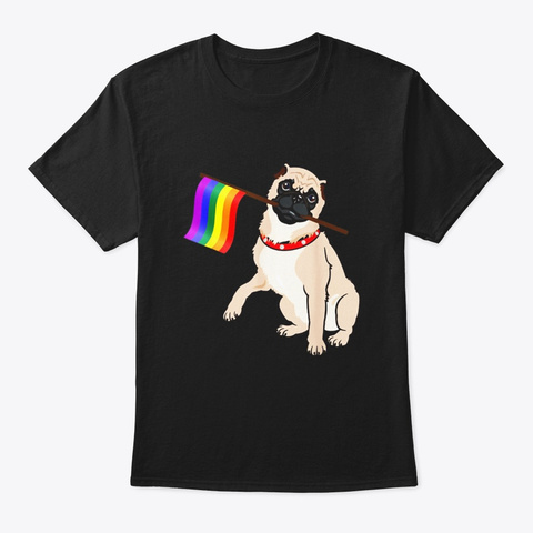 Gay Pride Flag Pug T Shirt Lgbt Pride Black T-Shirt Front