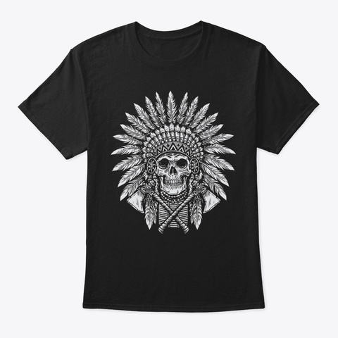 Chief Hat Of Native American Shirt Black T-Shirt Front