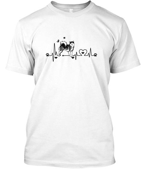 Alaskan Malamute Heartbeat White T-Shirt Front