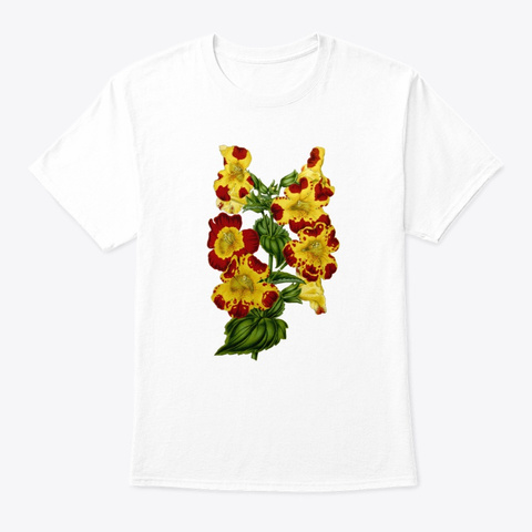 Beautiful Vintage Botanical White T-Shirt Front
