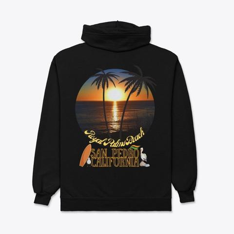 San Pedro California Royal Palms Beach Black T-Shirt Back