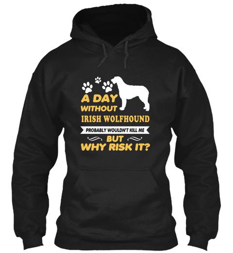 Irish Wolfhound Dog Shirt Black T-Shirt Front