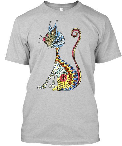 Cat Art 01 Light Steel T-Shirt Front