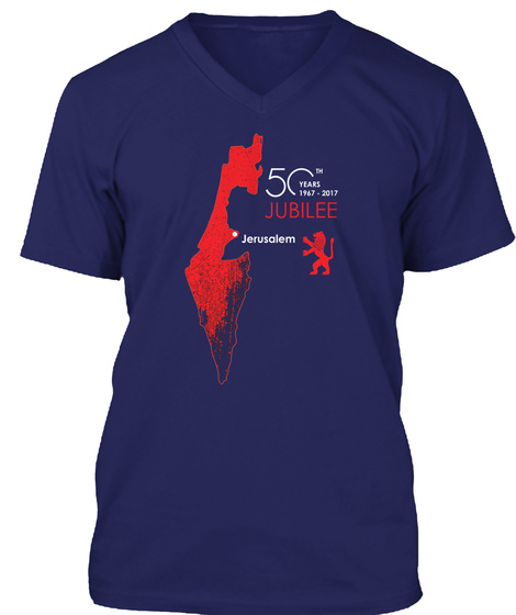 50th Years 1967   2017 Jubilee Jerusalem Navy T-Shirt Front