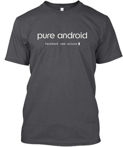 Pure Android Fastboot Oem Unlock Charcoal T-Shirt Front
