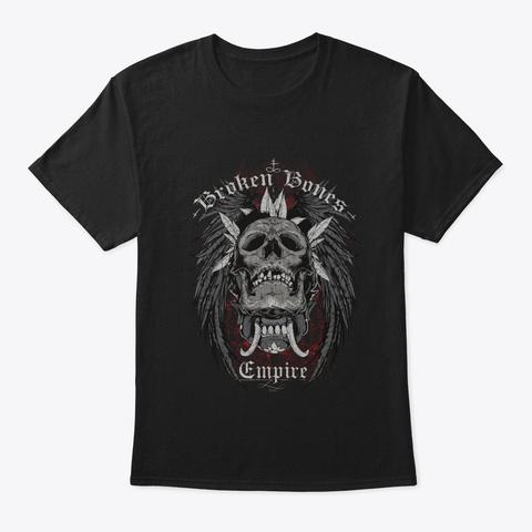 Skull Broken Bones Empire Black T-Shirt Front