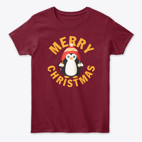 Baby Penguin Winter Hat Merry Christmas Cardinal Red T-Shirt Front