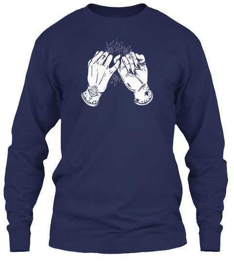Pinky Promise Tshirt   Tattoo Hands Best Friend Tee Navy T-Shirt Front