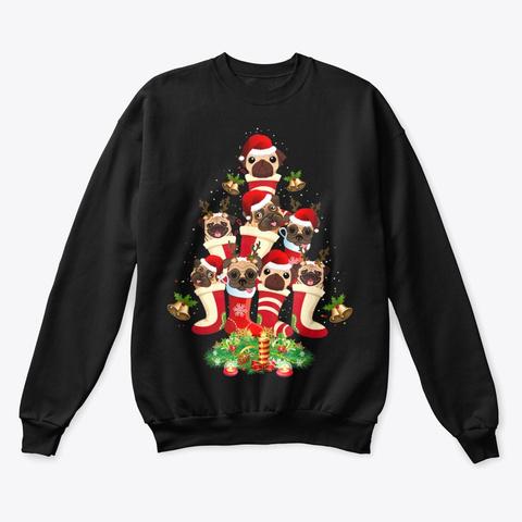 Cute Santa Pugs Christmas Tree Black T-Shirt Front