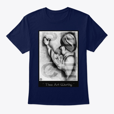 Peace Thou Art Worthy Navy T-Shirt Front