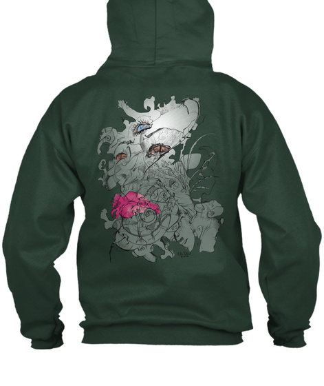 Third Eye Swirls Hoodie Deep Forest  Sweatshirt Back